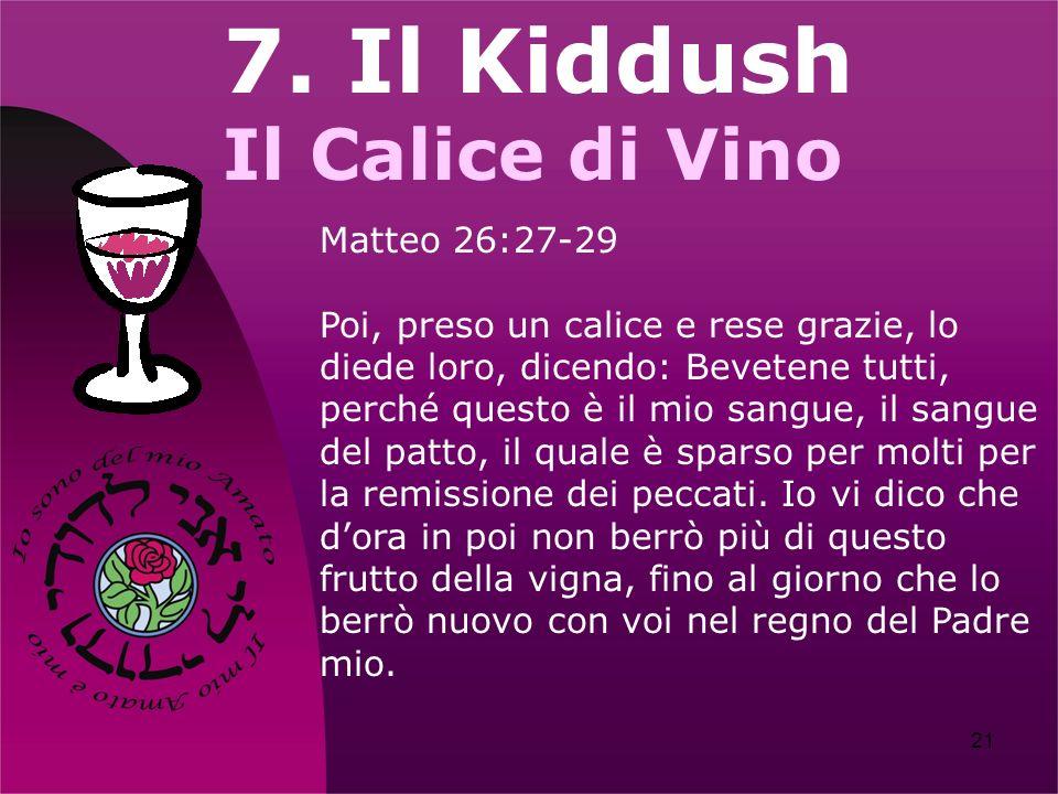 7. Il Kiddush Il Calice di Vino Matteo 26:27-29