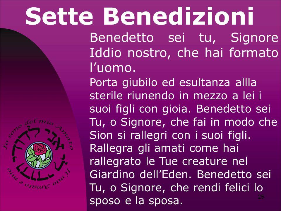 Sette Benedizioni Benedetto sei tu, Signore Iddio nostro, che hai formato l'uomo.