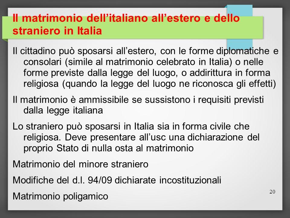 Il matrimonio dell'italiano all'estero e dello straniero in Italia
