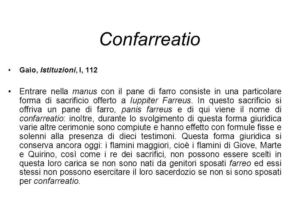 Confarreatio Gaio, Istituzioni, l, 112.