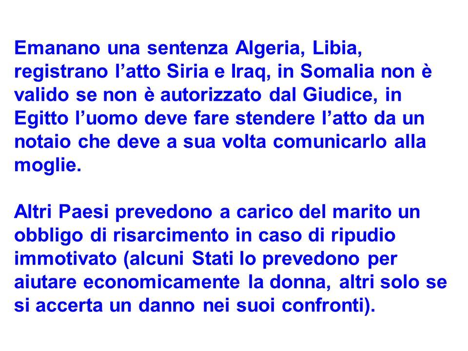 Emanano una sentenza Algeria, Libia, registrano l'atto Siria e Iraq, in Somalia non è valido se non è autorizzato dal Giudice, in Egitto l'uomo deve fare stendere l'atto da un notaio che deve a sua volta comunicarlo alla moglie.
