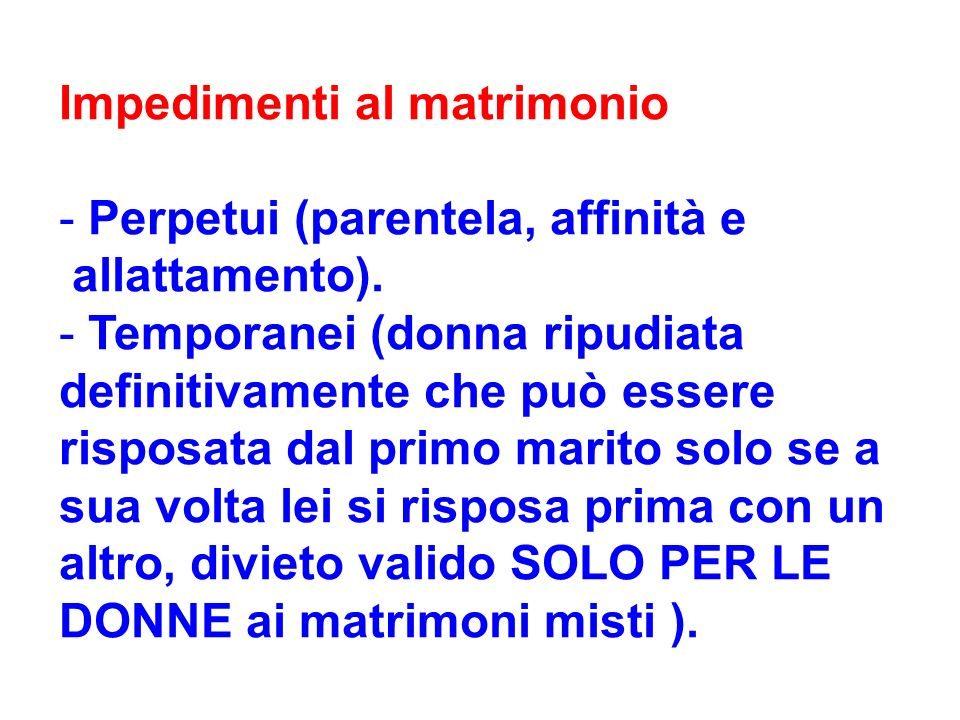 Impedimenti al matrimonio