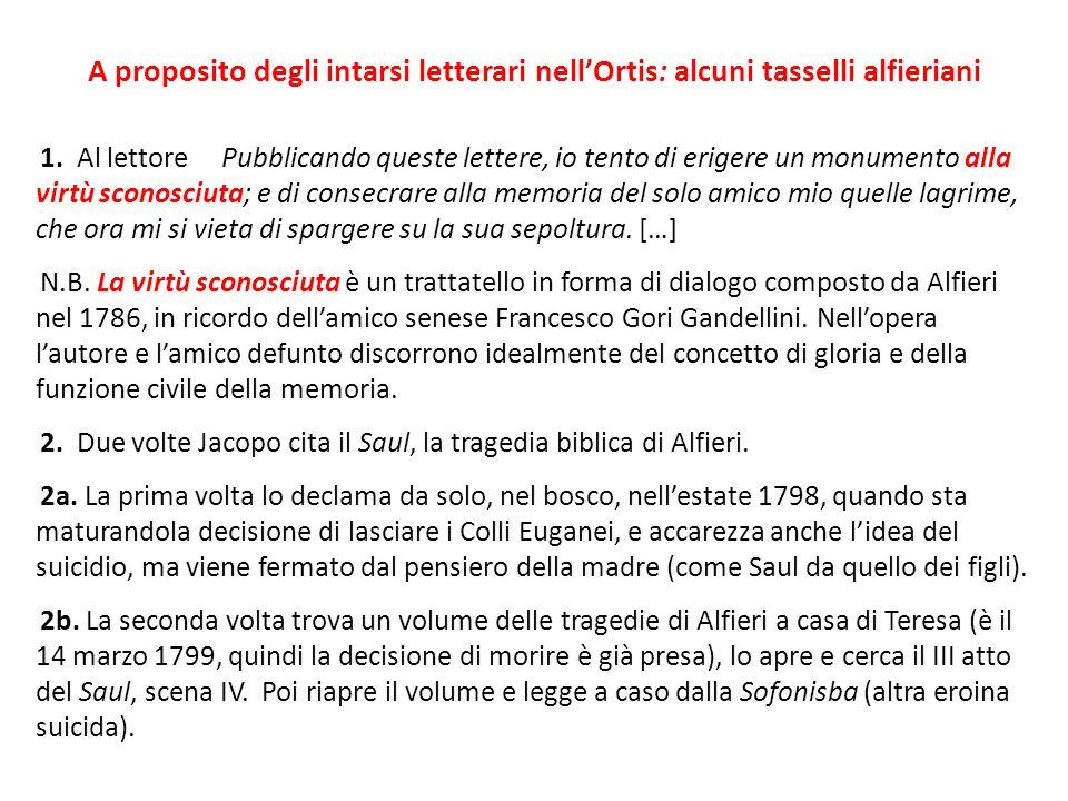 A proposito degli intarsi letterari nell'Ortis: alcuni tasselli alfieriani