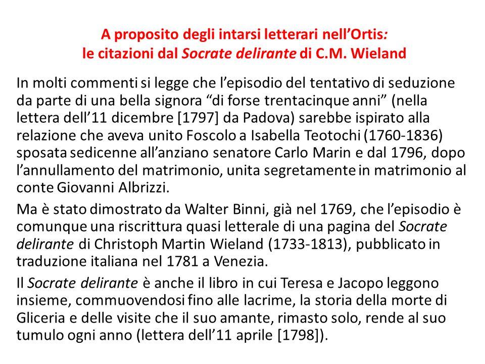 A proposito degli intarsi letterari nell'Ortis: le citazioni dal Socrate delirante di C.M. Wieland