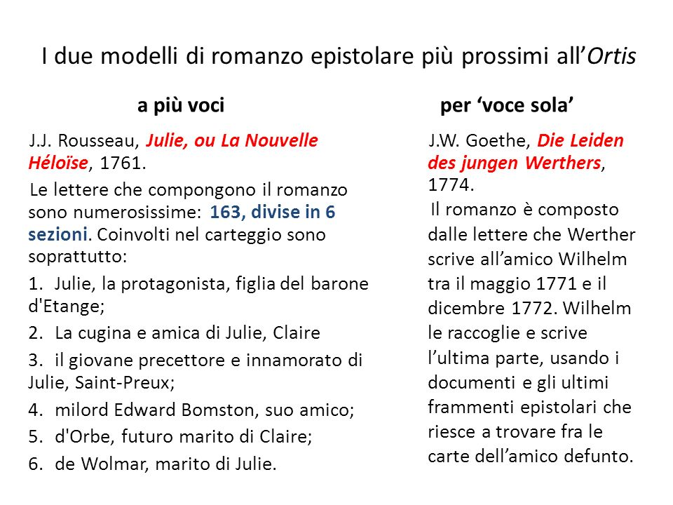 I due modelli di romanzo epistolare più prossimi all'Ortis