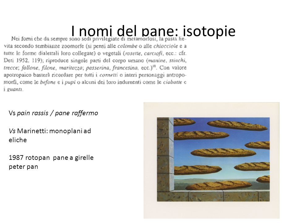 I nomi del pane: isotopie