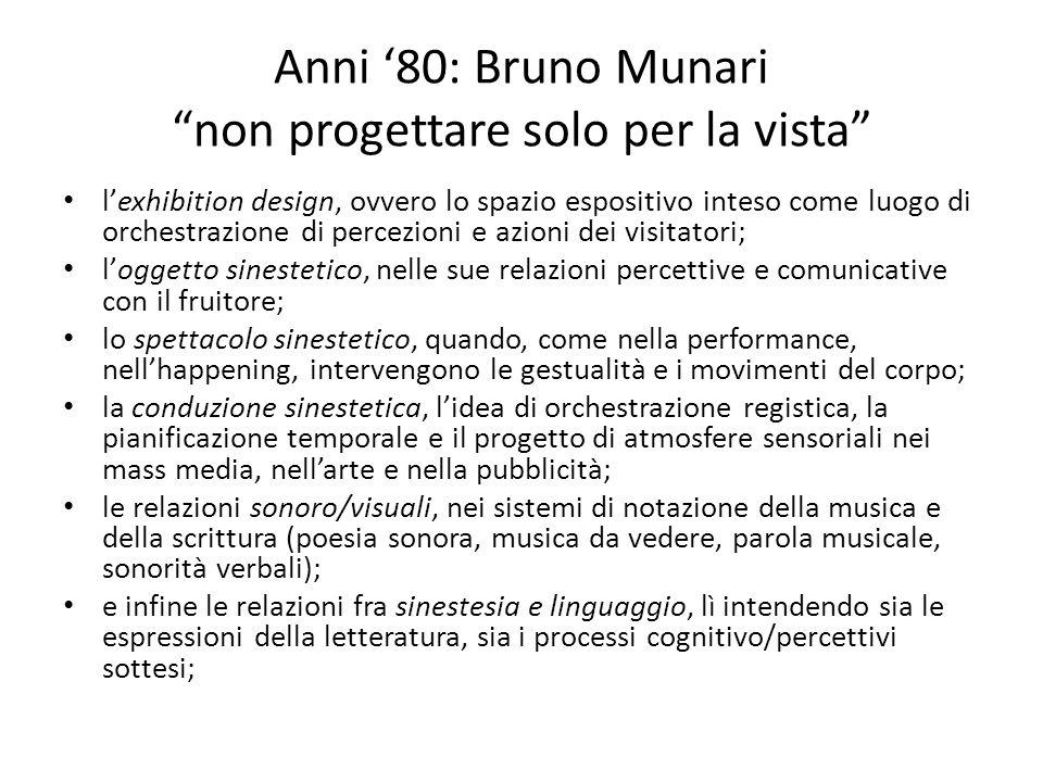 Anni '80: Bruno Munari non progettare solo per la vista