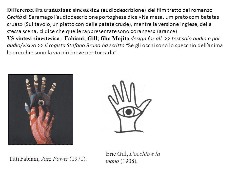 Differenza fra traduzione sinestesica (audiodescrizione) del film tratto dal romanzo Cecità di Saramago l'audiodescrizione portoghese dice «Na mesa, um prato com batatas cruas» (Sul tavolo, un piatto con delle patate crude), mentre la versione inglese, della stessa scena, ci dice che quelle rappresentate sono «oranges» (arance)