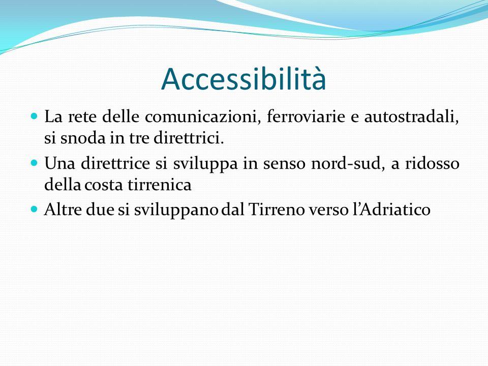 Accessibilità La rete delle comunicazioni, ferroviarie e autostradali, si snoda in tre direttrici.