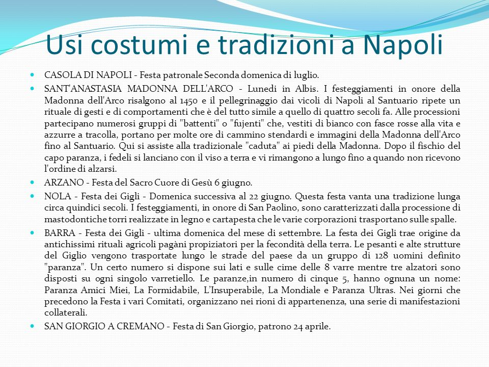 Usi costumi e tradizioni a Napoli