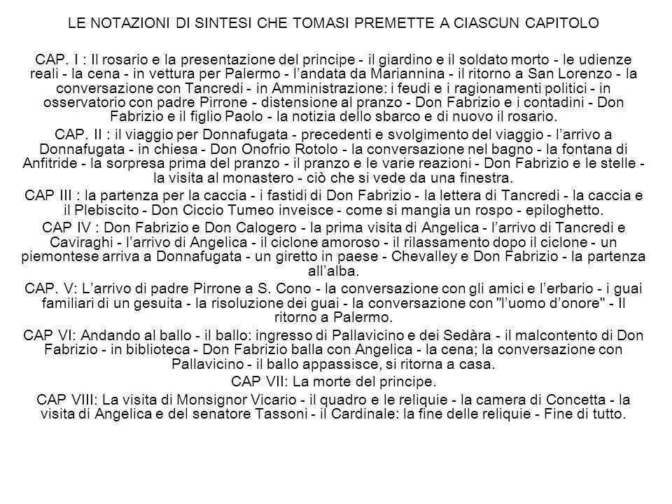 LE NOTAZIONI DI SINTESI CHE TOMASI PREMETTE A CIASCUN CAPITOLO