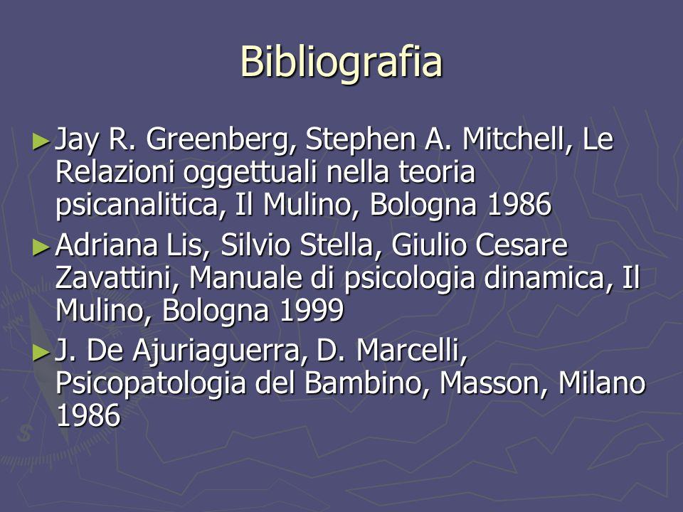Bibliografia Jay R. Greenberg, Stephen A. Mitchell, Le Relazioni oggettuali nella teoria psicanalitica, Il Mulino, Bologna 1986.