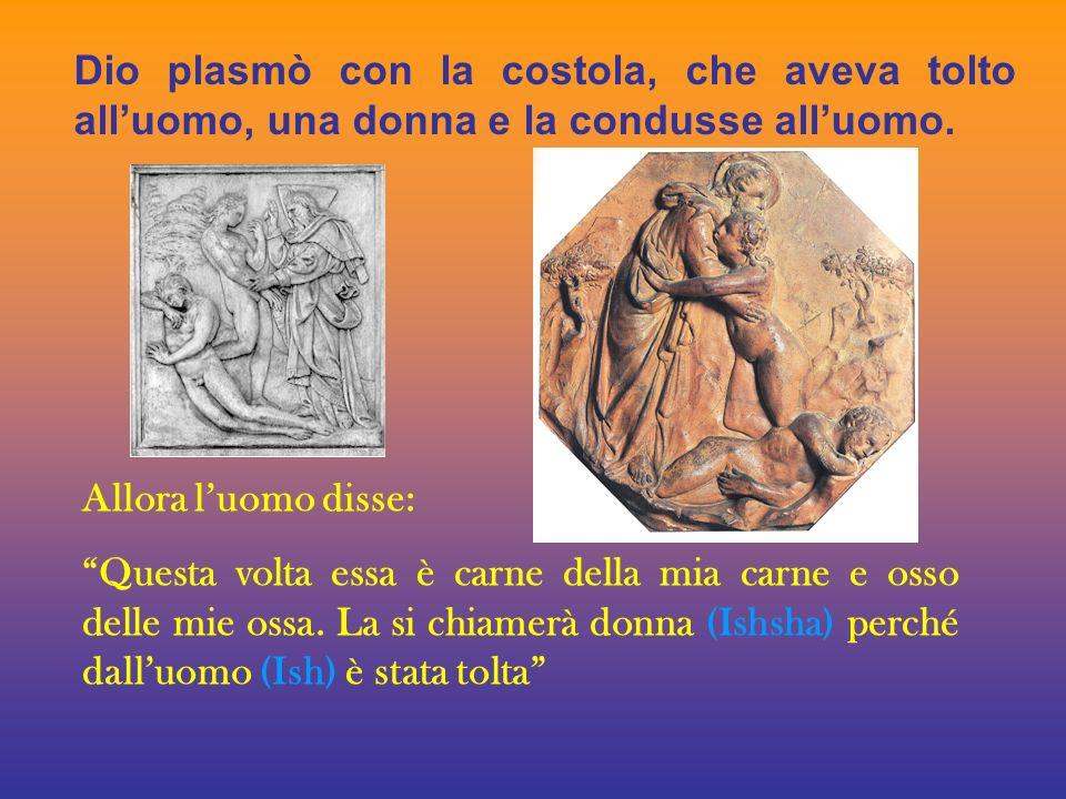 Dio plasmò con la costola, che aveva tolto all'uomo, una donna e la condusse all'uomo.