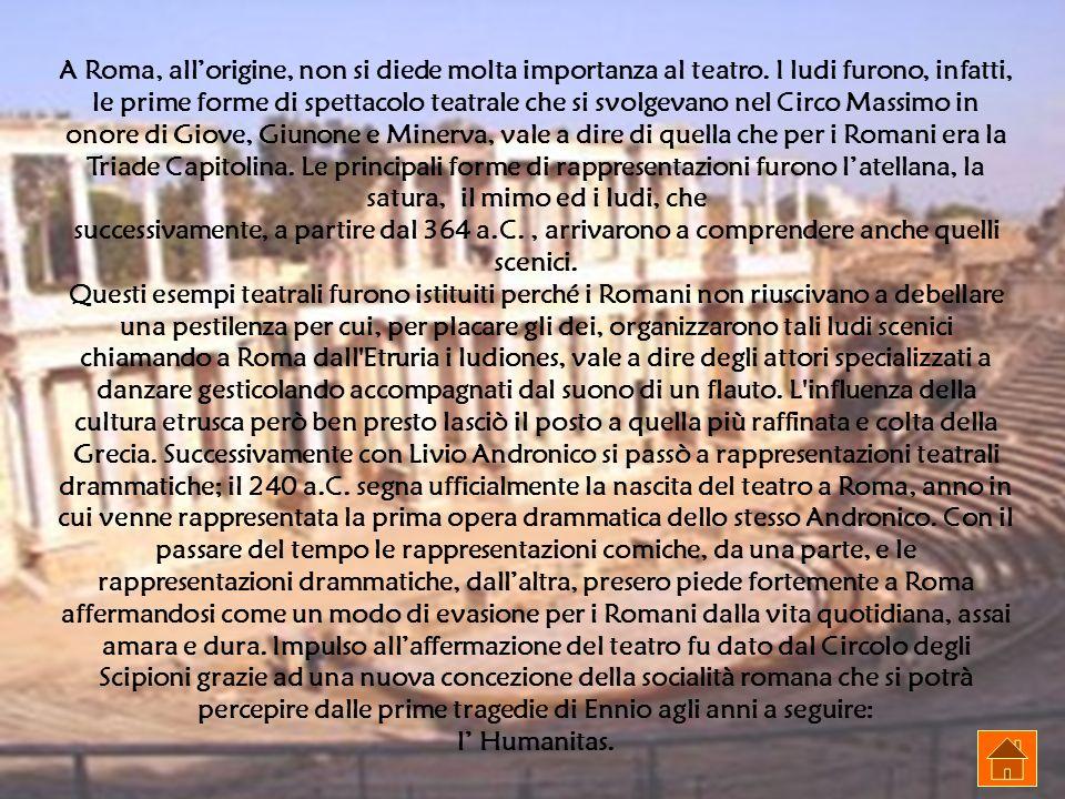 A Roma, all'origine, non si diede molta importanza al teatro