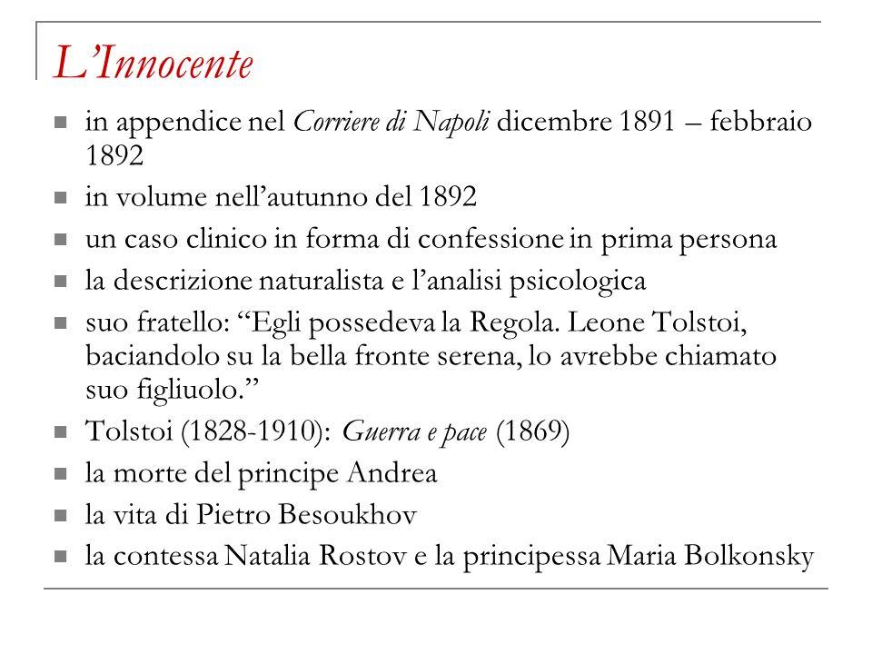 L'Innocente in appendice nel Corriere di Napoli dicembre 1891 – febbraio 1892. in volume nell'autunno del 1892.