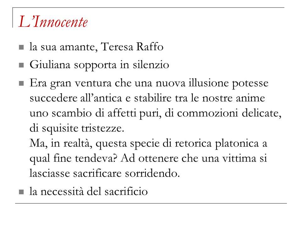 L'Innocente la sua amante, Teresa Raffo Giuliana sopporta in silenzio