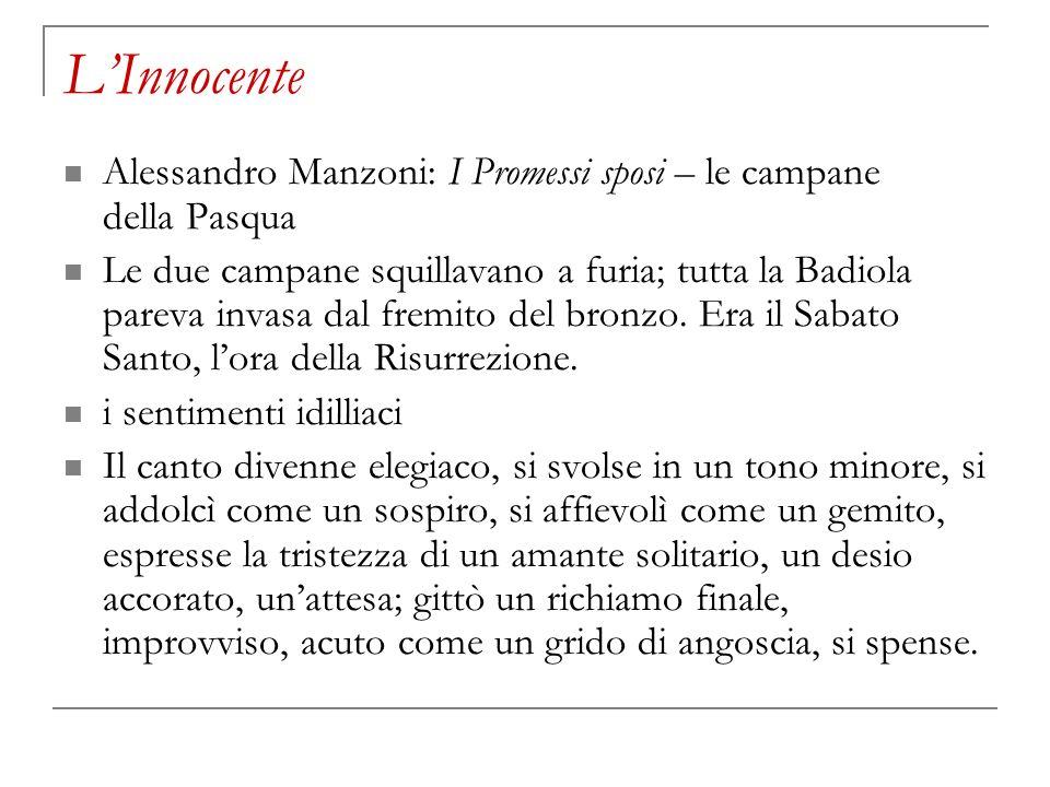 L'Innocente Alessandro Manzoni: I Promessi sposi – le campane della Pasqua.
