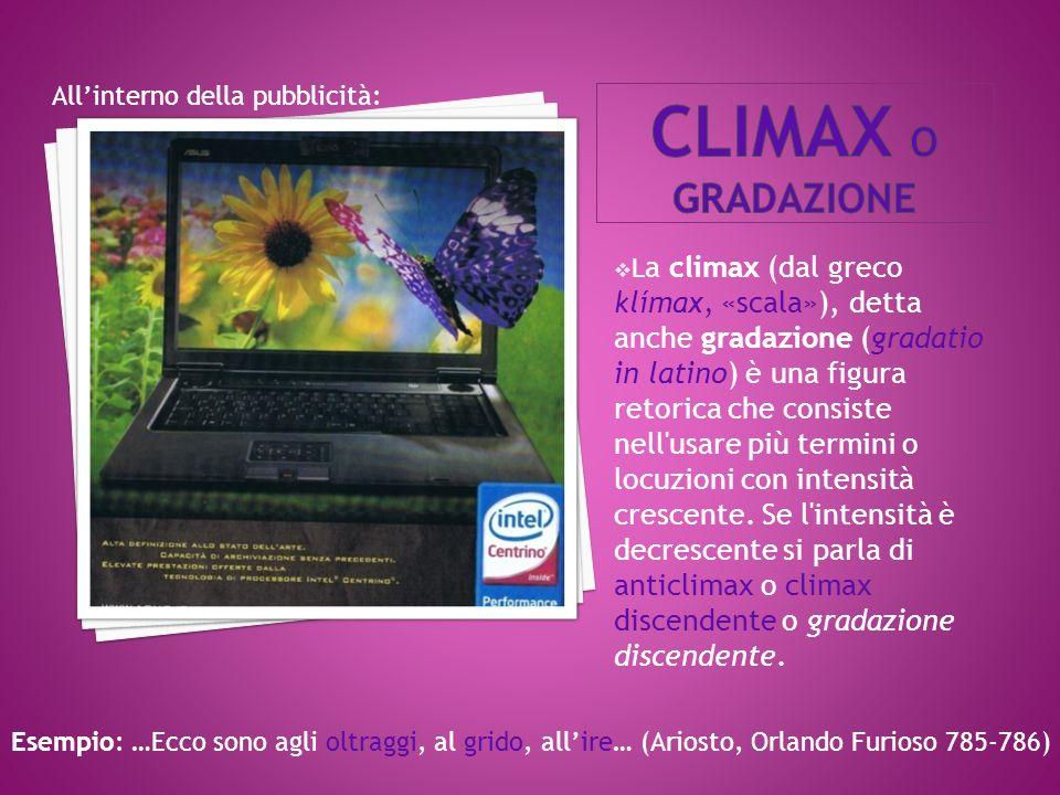 Climax o gradazione All'interno della pubblicità: