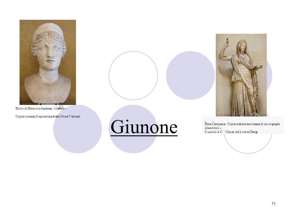 Giunone Busto di Hera con diadema - Marmo –