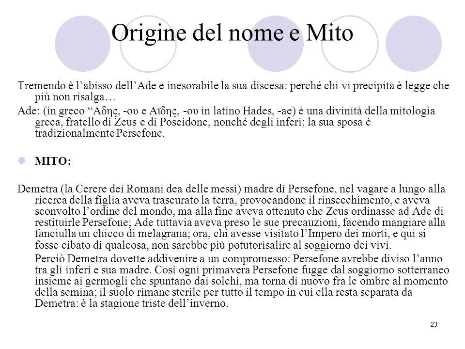 Origine del nome e Mito Tremendo è l'abisso dell'Ade e inesorabile la sua discesa: perché chi vi precipita è legge che più non risalga…