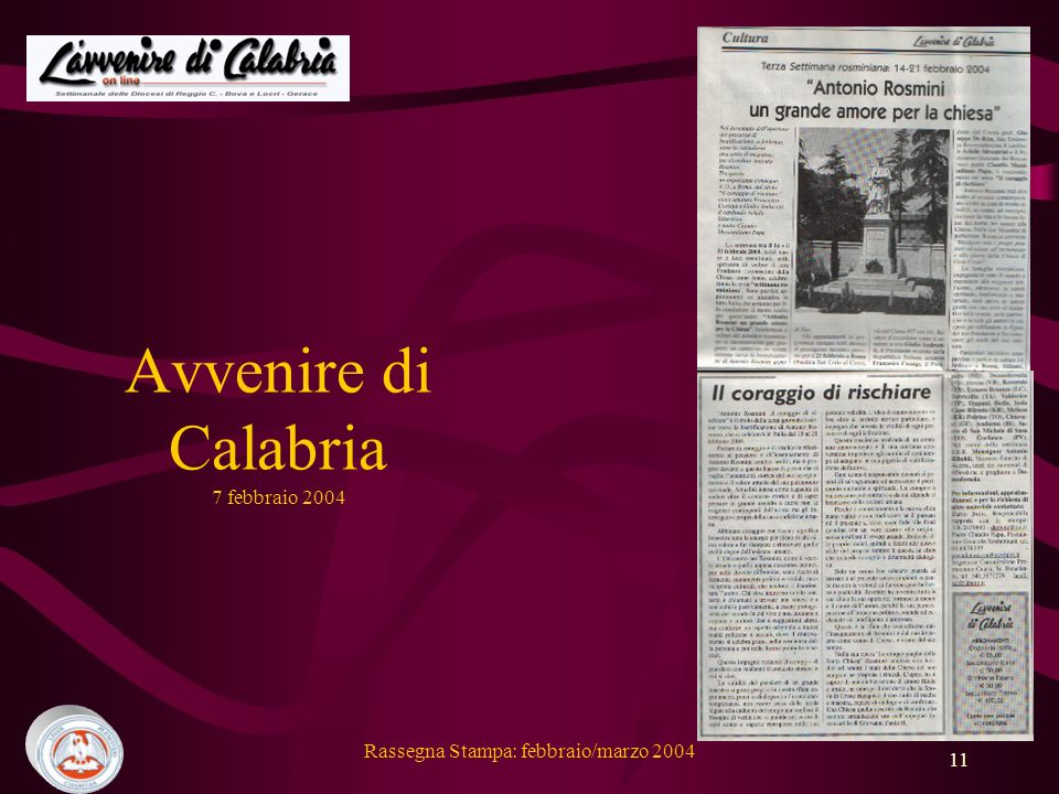 Avvenire di Calabria 7 febbraio 2004