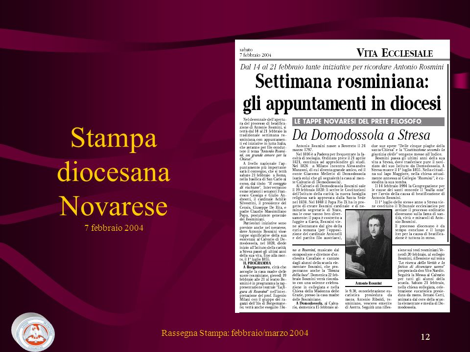 Stampa diocesana Novarese 7 febbraio 2004