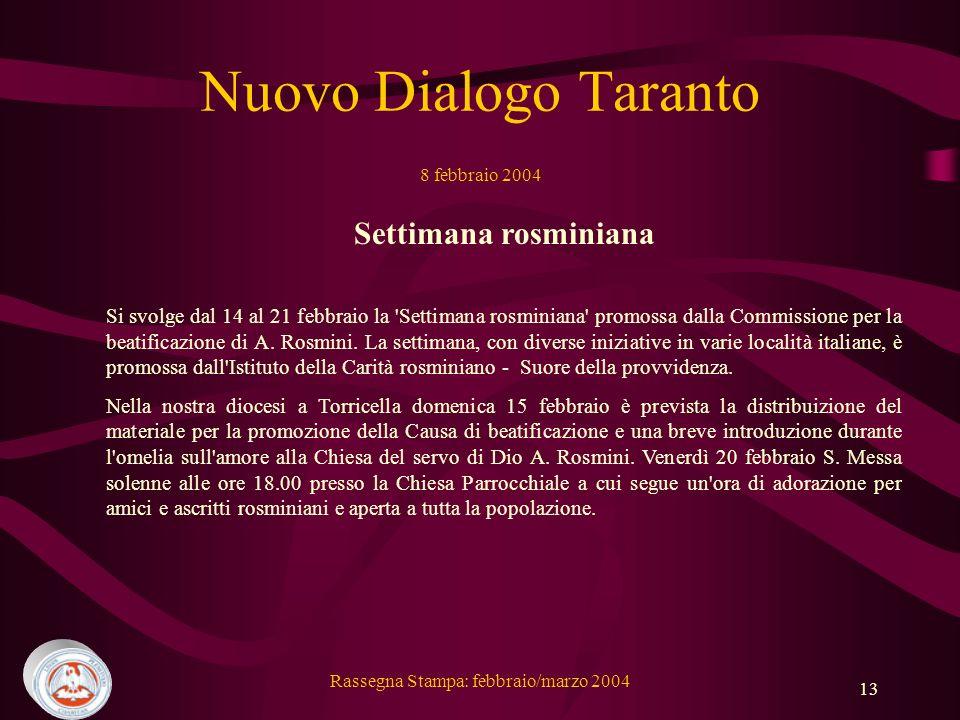 Nuovo Dialogo Taranto 8 febbraio 2004