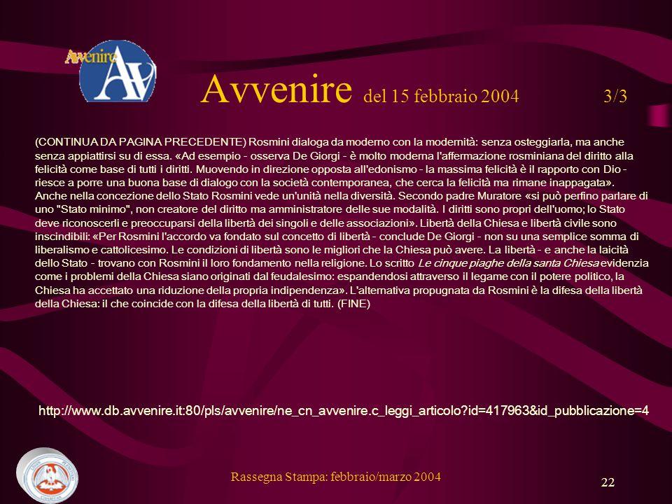 Avvenire del 15 febbraio 2004 3/3