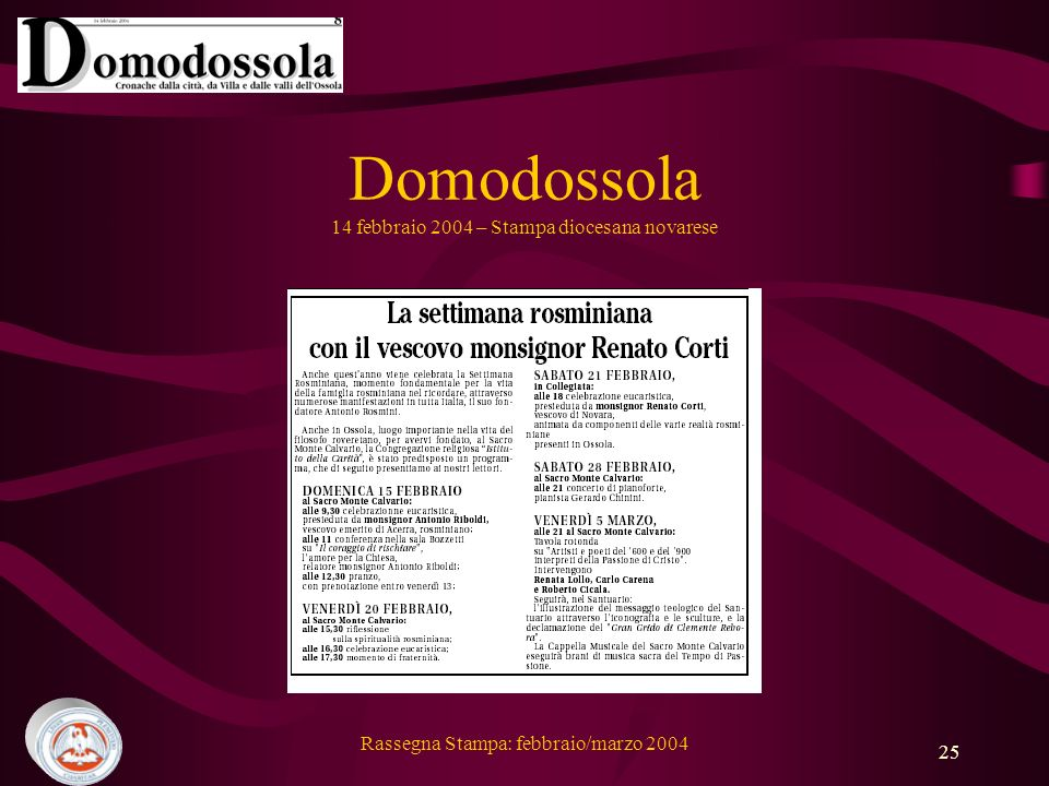 Domodossola 14 febbraio 2004 – Stampa diocesana novarese