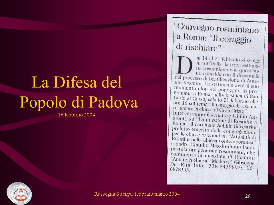 La Difesa del Popolo di Padova 16 febbraio 2004