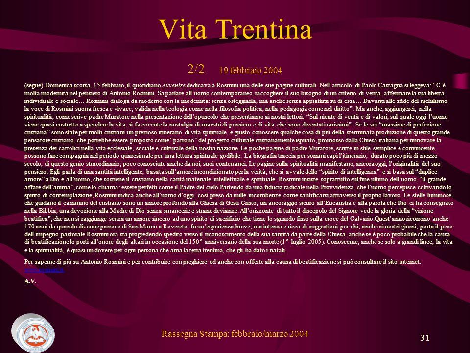 Vita Trentina 2/2 19 febbraio 2004