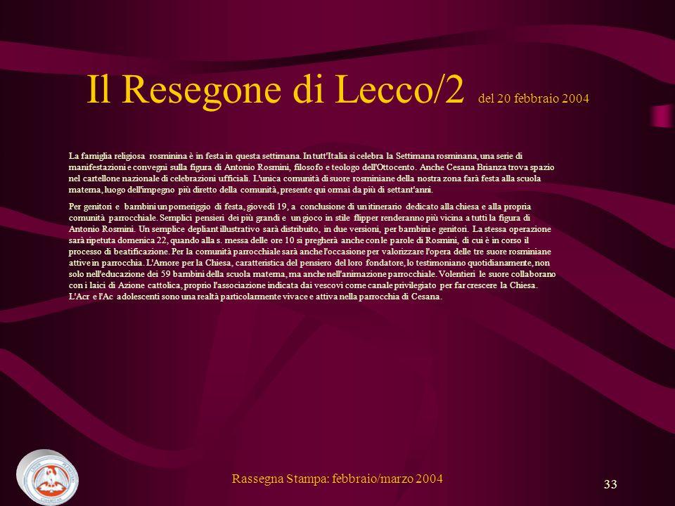 Il Resegone di Lecco/2 del 20 febbraio 2004