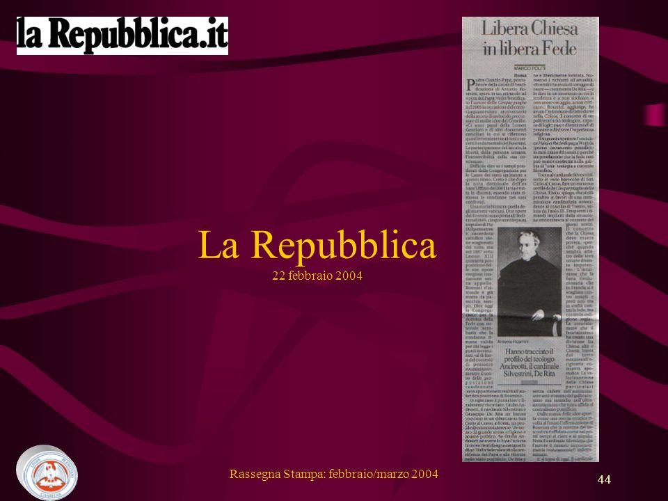 La Repubblica 22 febbraio 2004