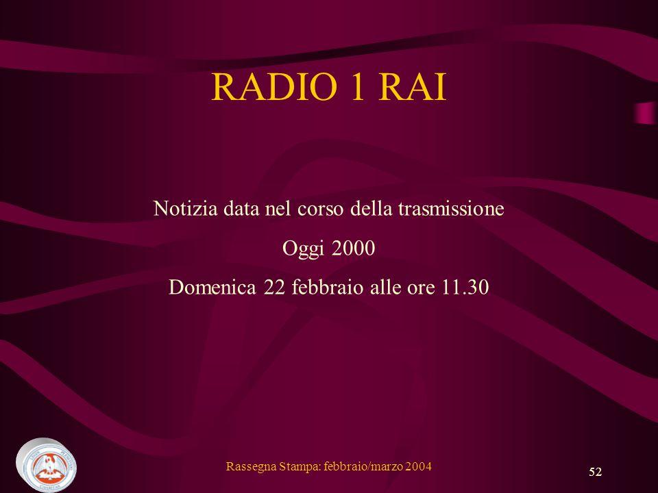 RADIO 1 RAI Notizia data nel corso della trasmissione Oggi 2000