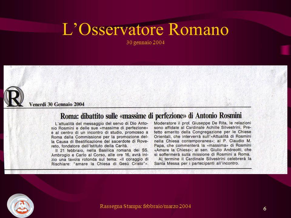L'Osservatore Romano 30 gennaio 2004