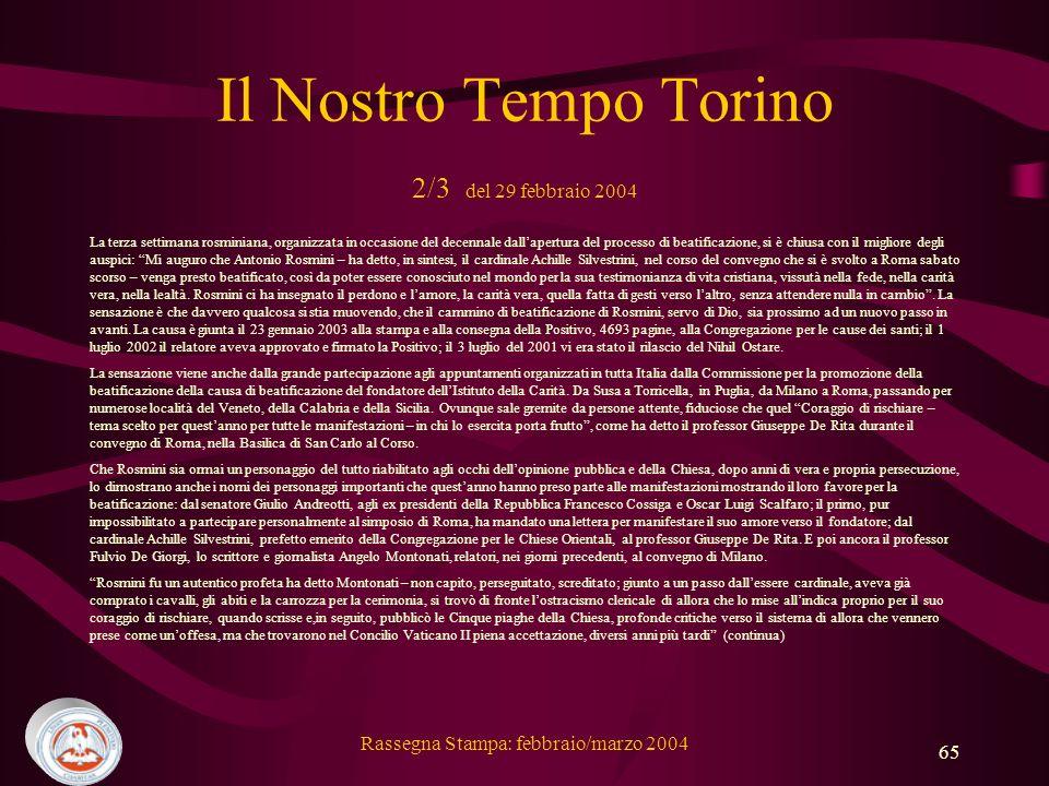 Il Nostro Tempo Torino 2/3 del 29 febbraio 2004