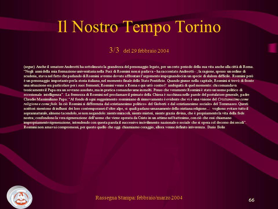 Il Nostro Tempo Torino 3/3 del 29 febbraio 2004