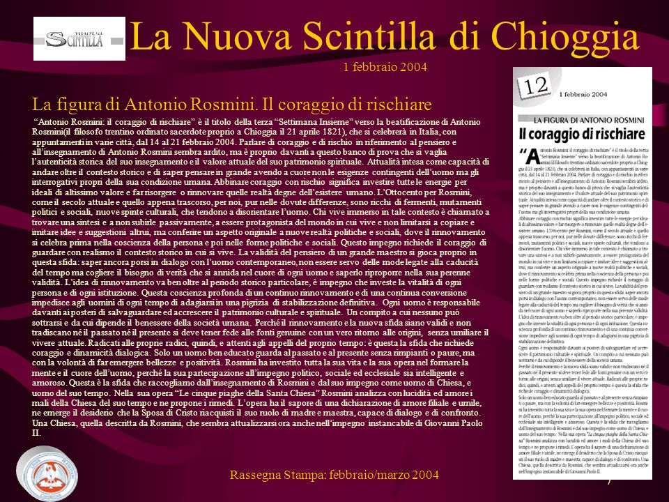 La Nuova Scintilla di Chioggia 1 febbraio 2004