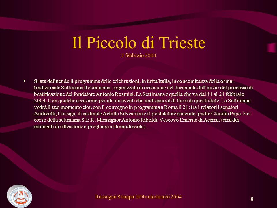 Il Piccolo di Trieste 3 febbraio 2004