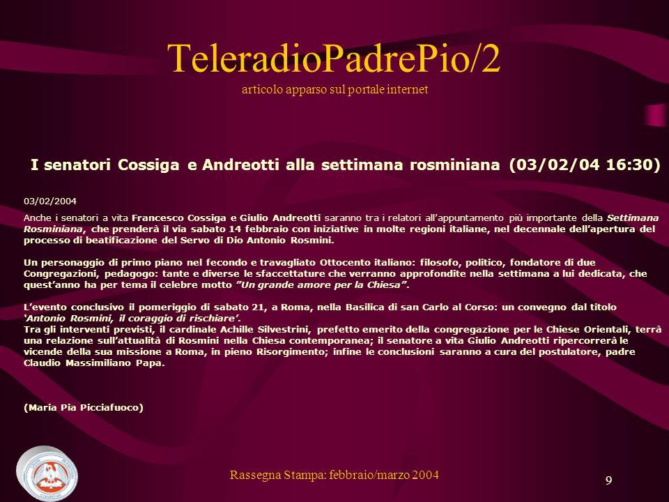 TeleradioPadrePio/2 articolo apparso sul portale internet
