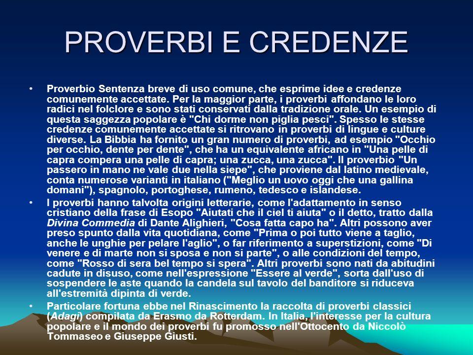PROVERBI E CREDENZE