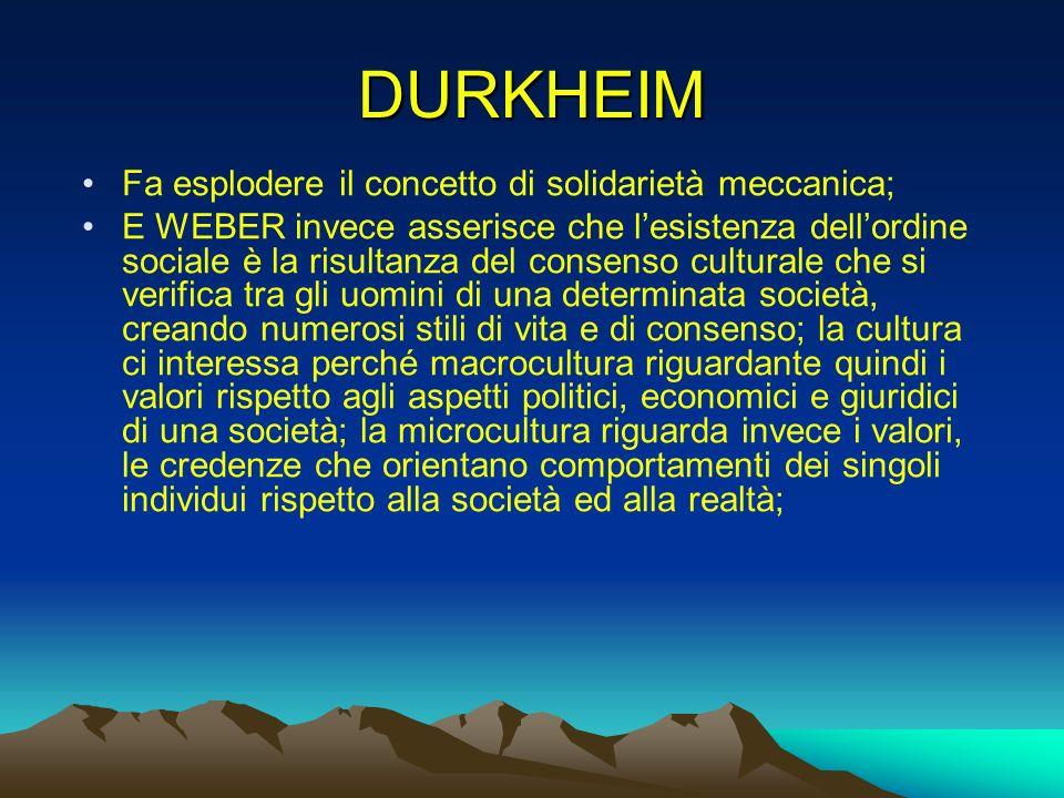 DURKHEIM Fa esplodere il concetto di solidarietà meccanica;