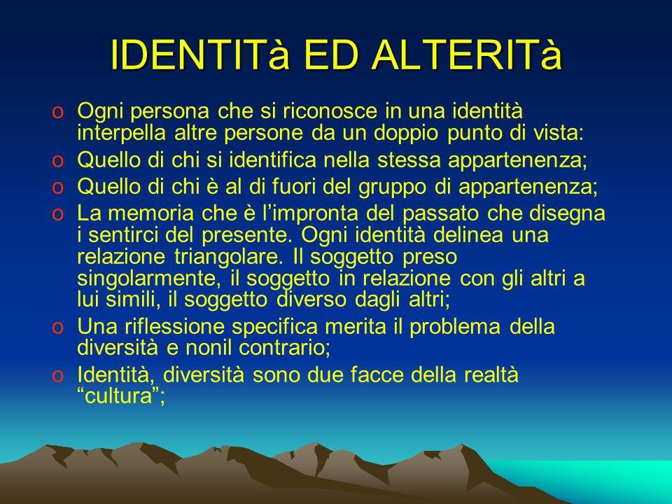 IDENTITà ED ALTERITà Ogni persona che si riconosce in una identità interpella altre persone da un doppio punto di vista: