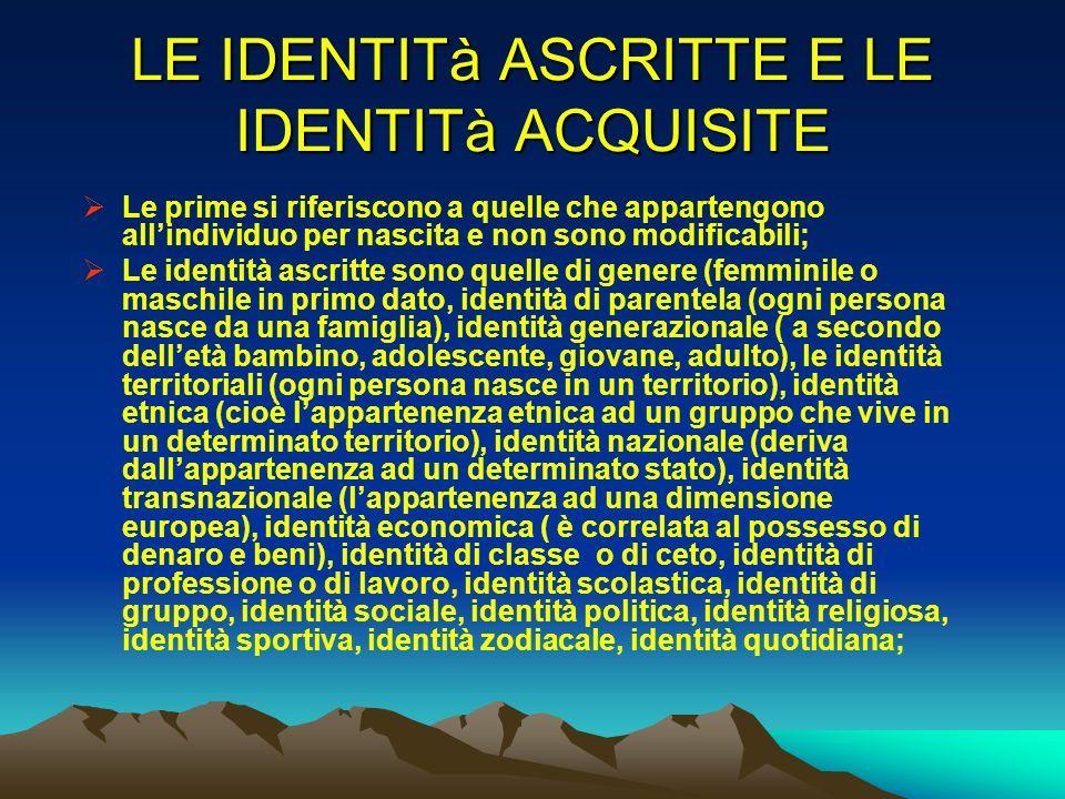 LE IDENTITà ASCRITTE E LE IDENTITà ACQUISITE