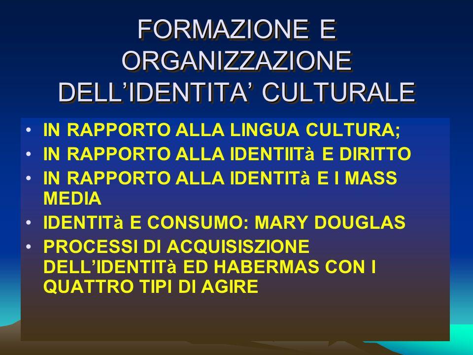 FORMAZIONE E ORGANIZZAZIONE DELL'IDENTITA' CULTURALE
