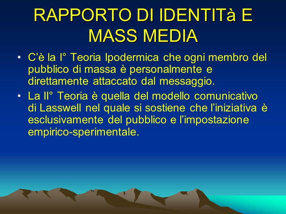 RAPPORTO DI IDENTITà E MASS MEDIA