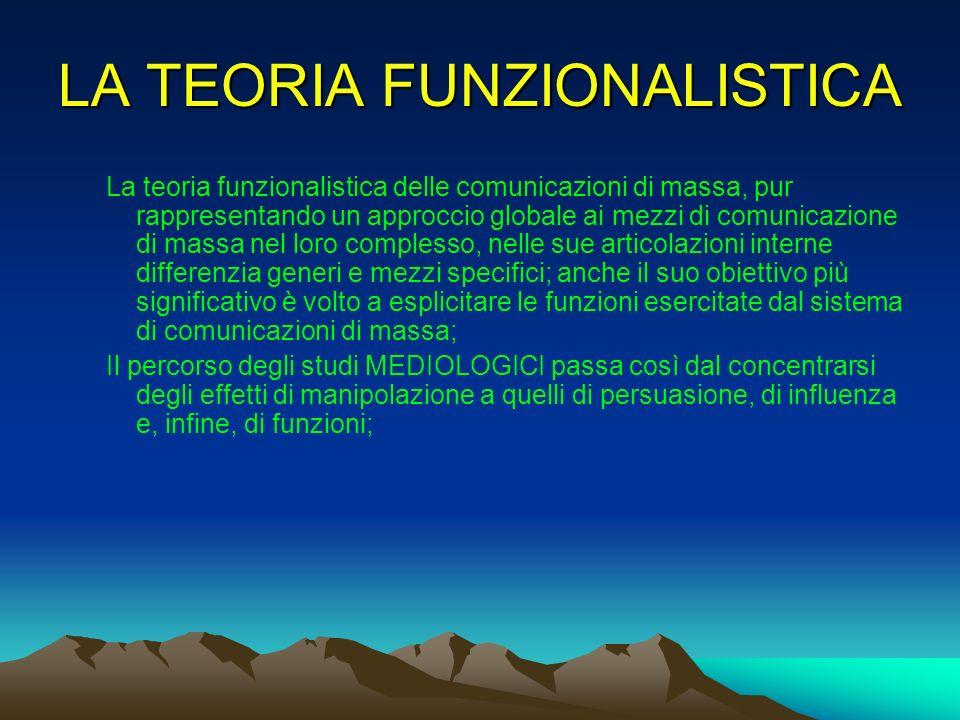 LA TEORIA FUNZIONALISTICA
