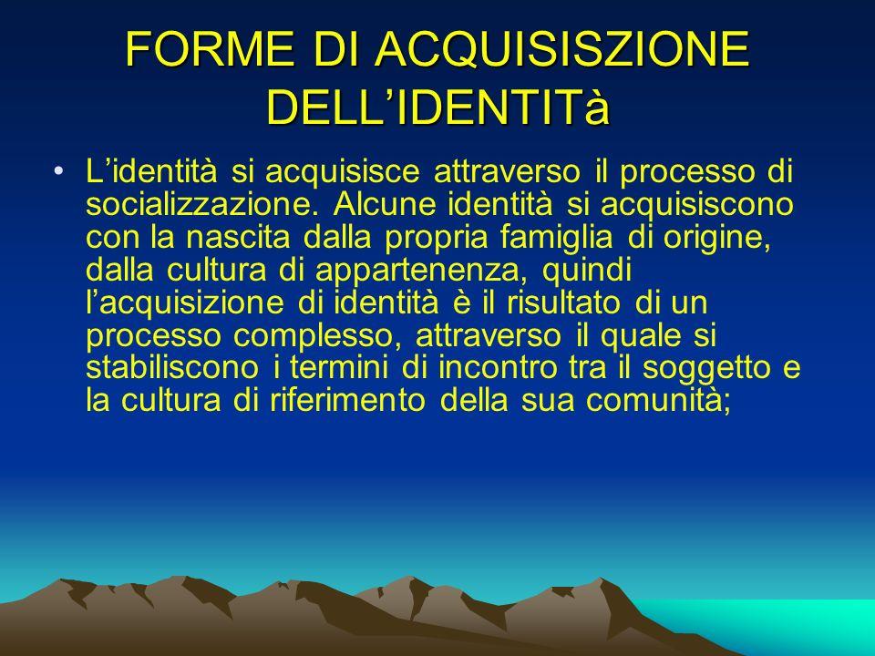 FORME DI ACQUISISZIONE DELL'IDENTITà