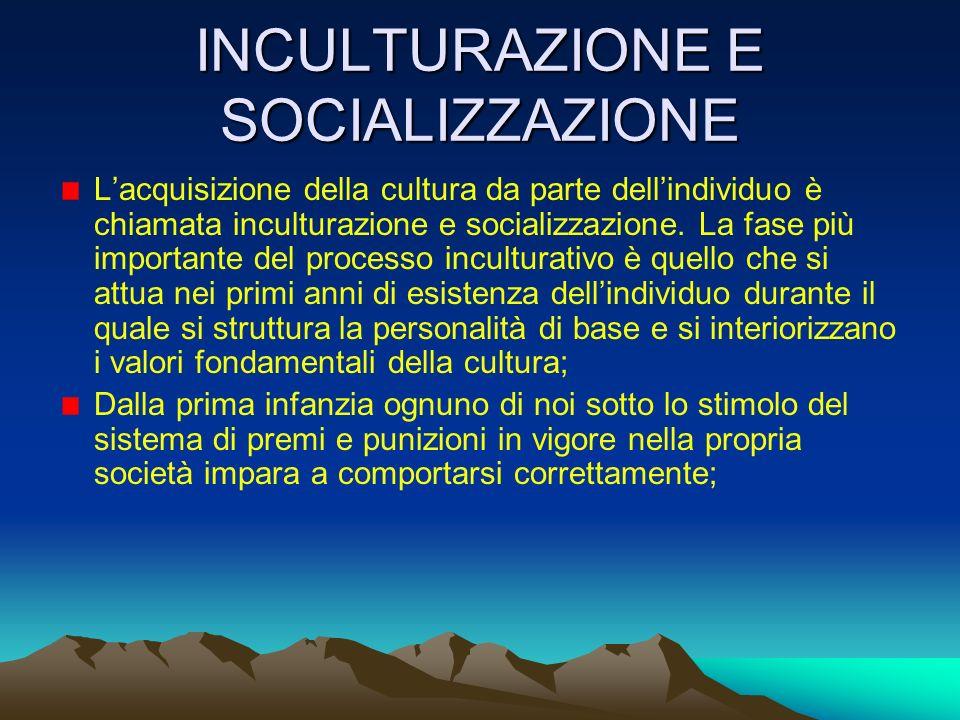 INCULTURAZIONE E SOCIALIZZAZIONE