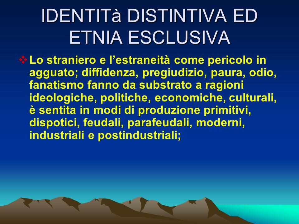 IDENTITà DISTINTIVA ED ETNIA ESCLUSIVA
